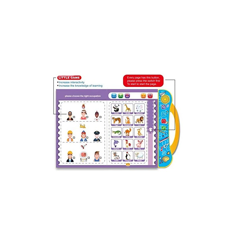 Electronic kids Intellectual E Learning Book With Reading And Sound With Touch