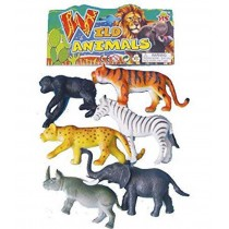 Funny Die Cast Wild Animals Realistic 6 Pc Set LD635 A