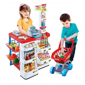 2.69 Feet Big Home SuperMarket With Shopping Cart And Scanner