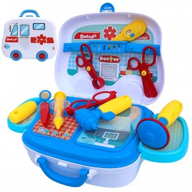 Pretend to Play Toy Doctor Set with Portable Briefcase (Stethoscope Included) Doctor Play Set for Toddler Boys Girls (Blue)
