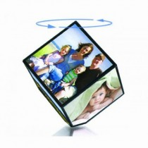 Revolving Cube Photo Frame For 4 x 4 Inch 6 Pics